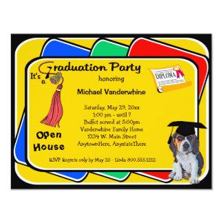 "Beagle Puppy Red Graduation Growler Party Invite 4.25"" X 5.5"" Invitation Card"