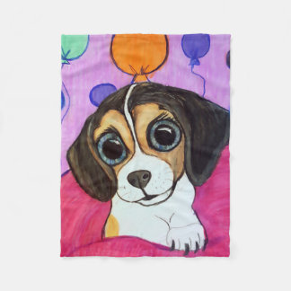 Beagle Puppy with Balloons Fleece Blanket