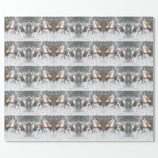 Beagle Pups In Snowy Woodland Wrapping Paper