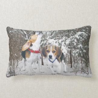 Beagle Pups Snowy Woods Lumbar Pillow