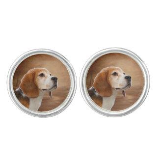 Beagle Round Cufflinks, Silver Plated Cufflinks