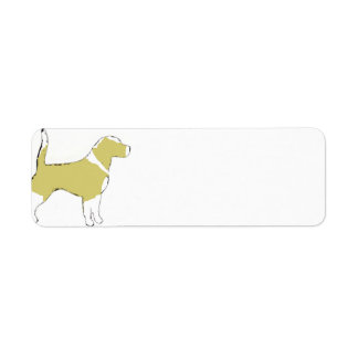 Beagle silhouette lemon white return address label