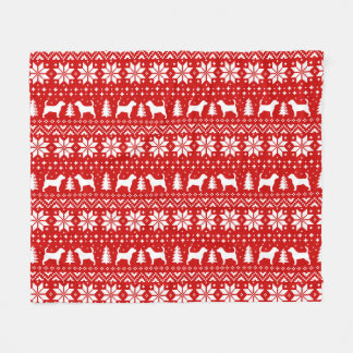 Beagle Silhouettes Christmas Pattern Red Fleece Blanket