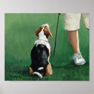 Beagle Sit Art Print