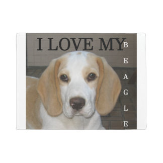 Beagle  tan and white love pic doormat