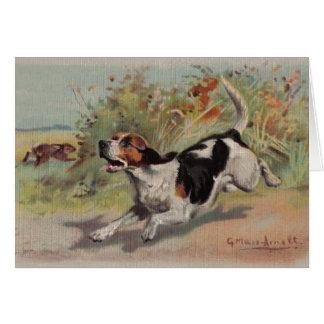 Beagle (vintage painting on canvas) Notecard