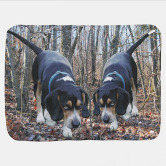 Beagles Hunting in the Woods Baby Blanket