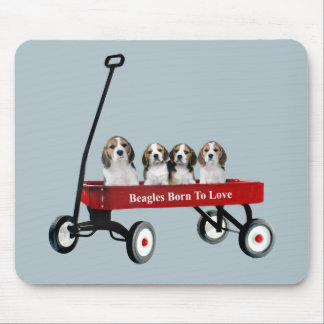 Beagles In Wagon Mousepad