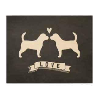 Beagles Love - Dog Silhouettes w/ Heart Wood Canvases