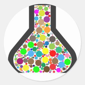 Beaker with Rainbow Chemicals Classic Round Sticker