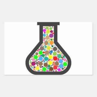 Beaker with Rainbow Chemicals Rectangular Sticker