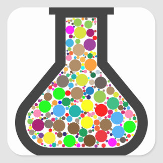 Beaker with Rainbow Chemicals Square Sticker