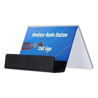 Beam Antenna on Red and White Tower Desk Business Card Holder