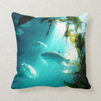 Beam of Light Underwater Fish Swimming Throw Pillow