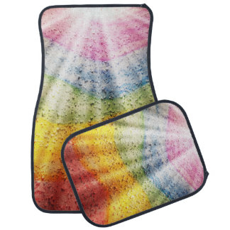 Beams of White Light and Rainbow Stripes Floor Mat