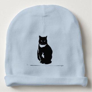 Beanie - stylized tuxedo black cat with att baby beanie