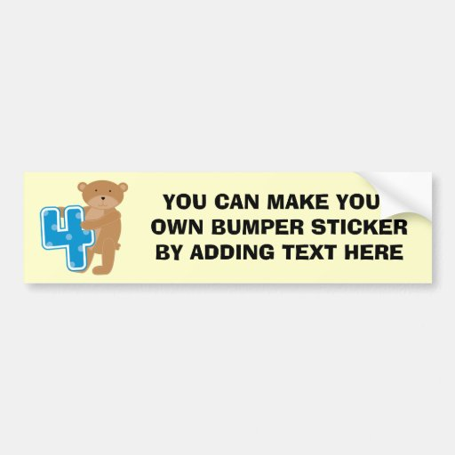 Bear 4th Birthday Tshirts and Gifts Bumper Stickers