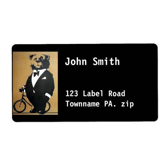 Bear Address Label black
