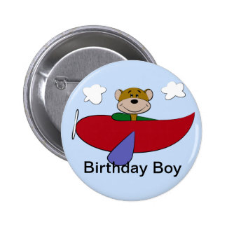 Bear Airplane Birthday Button