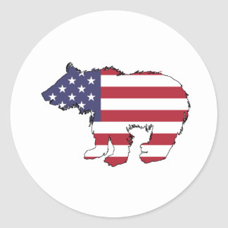 "Bear ""American Flag"" Classic Round Sticker"