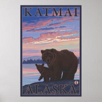 Bear and Cub - Katmai, Alaska Poster