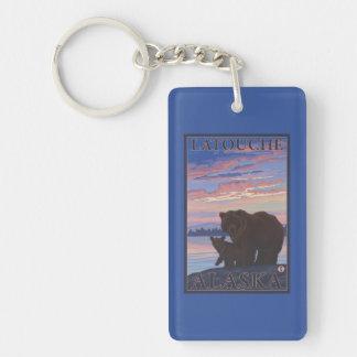 Bear and Cub - Latouche, Alaska Double-Sided Rectangular Acrylic Key Ring