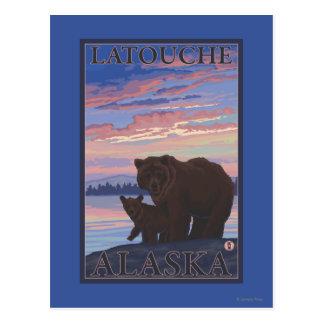 Bear and Cub - Latouche, Alaska Postcard