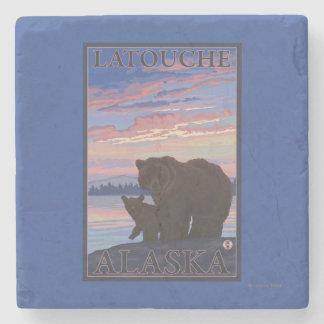 Bear and Cub - Latouche, Alaska Stone Beverage Coaster