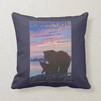 Bear and Cub - Latouche, Alaska Throw Pillow