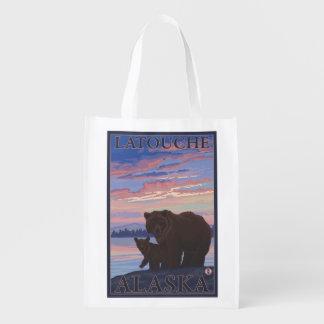 Bear and Cub - Latouche, Alaska Reusable Grocery Bag