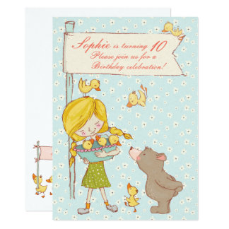 Bear and Ducklings Children Birthday Invitation