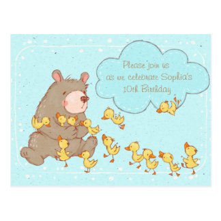 Bear and Ducklings Children Birthday Invitation Postcard