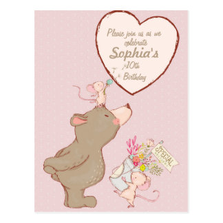 Bear and Mouse Children Birthday Invitation Postcard