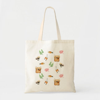 Bear and Salmon Tote Bag