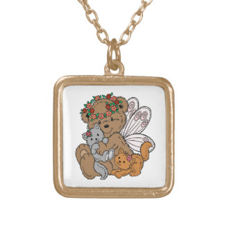 Bear Angel with Kittens Gold Plated Necklace