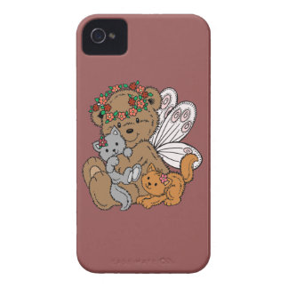 Bear Angel with Kittens iPhone 4 Cases