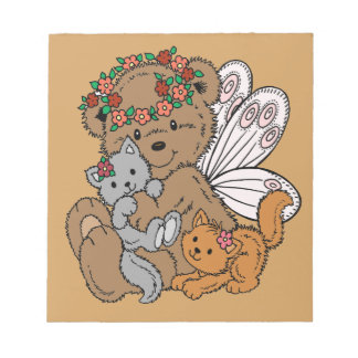 Bear Angel with Kittens Notepad
