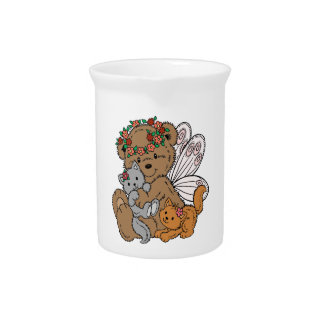 Bear Angel with Kittens Pitcher