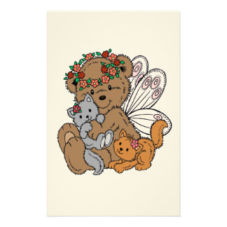 Bear Angel with Kittens Stationery