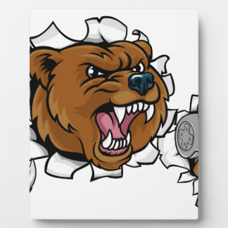 Bear Angry Esports Mascot Plaque