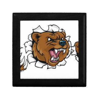 Bear Angry Mascot Background Claws Breakthrough Gift Box