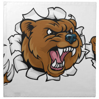 Bear Angry Mascot Background Claws Breakthrough Napkin