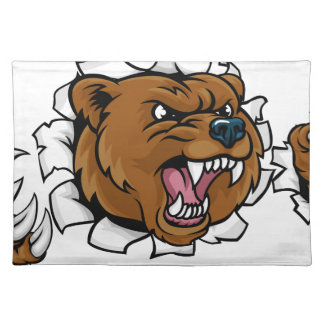 Bear Angry Mascot Background Claws Breakthrough Placemat