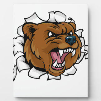 Bear Angry Mascot Background Claws Breakthrough Plaque