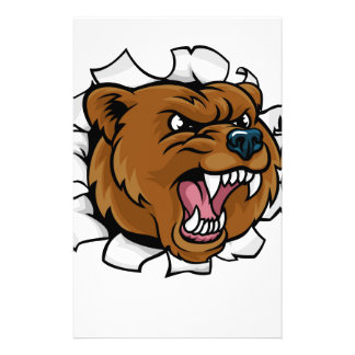 Bear Angry Mascot Background Claws Breakthrough Stationery