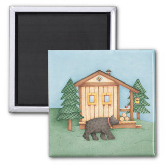 Bear at Cabin Square Magnet