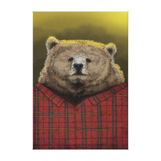 Bear at work gallery wrapped canvas