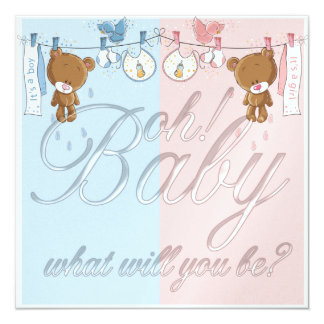 Bear Baby Gender Reveal Party Invitation
