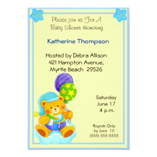 "Bear Baby  Shower Invitation 5"" X 7"" Invitation Card"