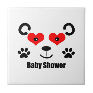 Bear Baby Shower Small Square Tile